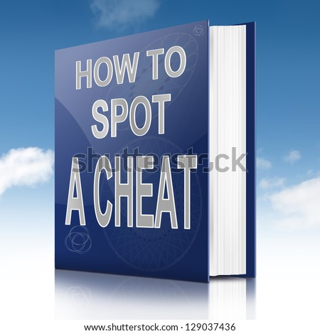 Illustration depicting a text book with a cheating concept title. Sky background.