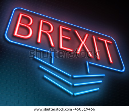 Illustration depicting an illuminated neon sign with a Brexit concept. - stock photo