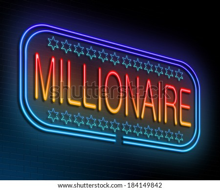 Illustration depicting an illuminated neon sign with a millionaire concept. - stock photo