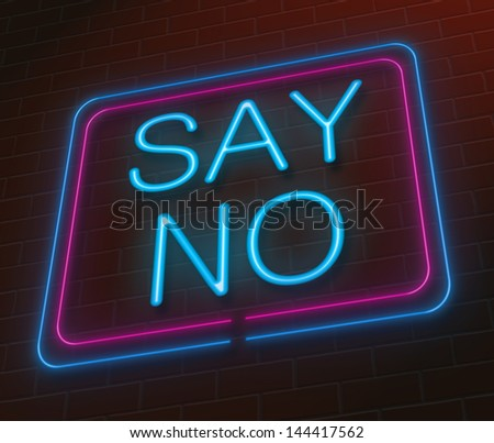 Illustration depicting an illuminated neon sign with a say no concept. - stock photo