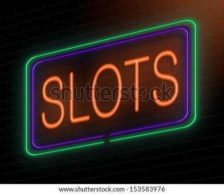Illustration depicting an illuminated neon sign with a slots concept. - stock photo