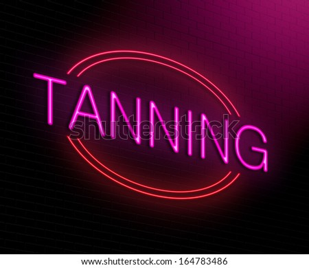 Illustration depicting an illuminated neon sign with a tanning concept. - stock photo
