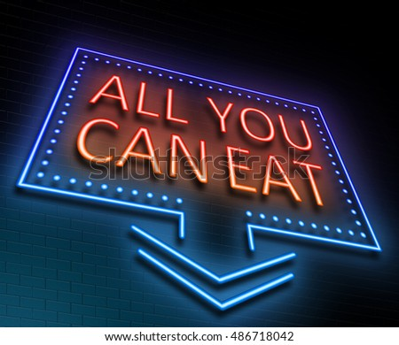Illustration depicting an illuminated neon sign with an all you can eat concept.