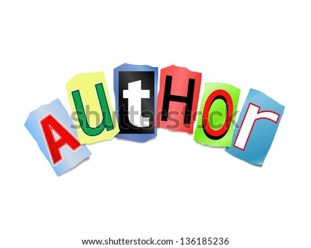 Illustration depicting cut out letters arranged to form the word author. - stock photo