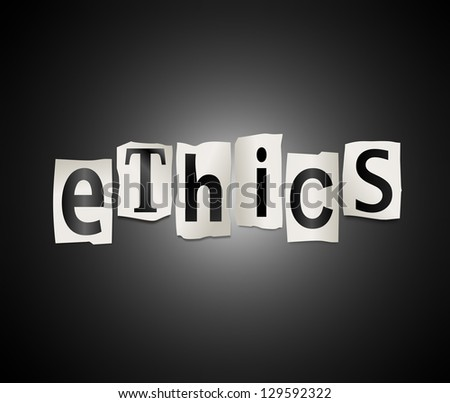 Illustration depicting cutout printed letters arranged to form the word ethics.
