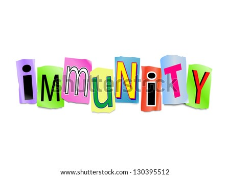 Illustration depicting cutout printed letters arranged to form the word immunity. - stock photo