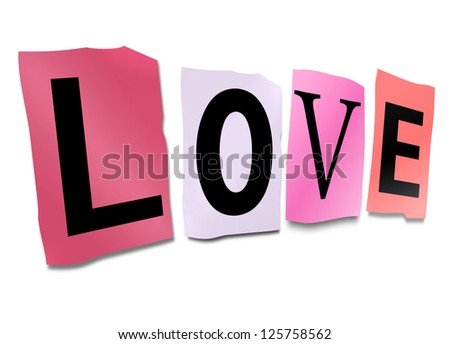 Illustration depicting cutout printed letters arranged to form the word love. - stock photo