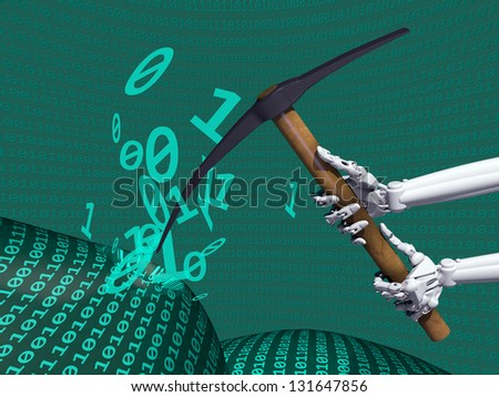 Illustration depicting data mining of computer information - stock photo