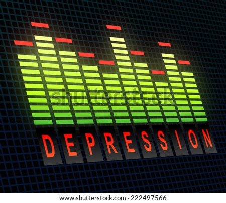 Illustration depicting graphic equalizer levels with a depression concept.