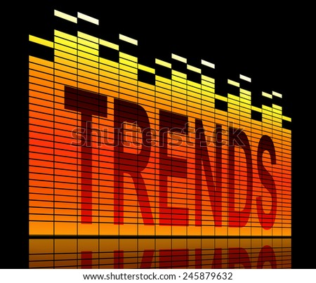 Illustration depicting graphic equalizer levels with a trends concept. - stock photo