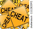 Illustration depicting many roadsigns with a cheat concept. - stock photo