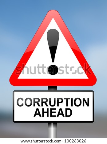 Illustration depicting red and white triangular warning road sign with a corruption concept. Blue blur background.