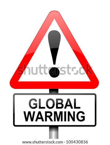 Illustration depicting red and white triangular warning road sign with a global warming concept. White background.