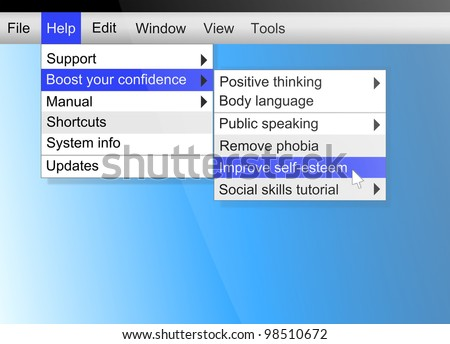 Illustration depicting text on a computer screen with a confidence concept.