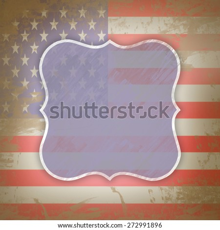 Illustration depicting the american flag and a label.