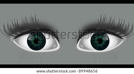 Illustration depicting two eyes peering out from grey background with black strip top and bottom of image. - stock photo