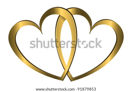 Illustration depicting two gold hearts arranged over white. - stock photo