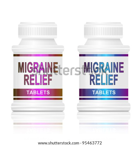 Illustration depicting two medication containers with the words 'migraine relief tablets' on the front with white background. - stock photo