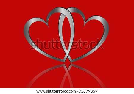 Illustration depicting two metallic hearts arranged over red. - stock photo