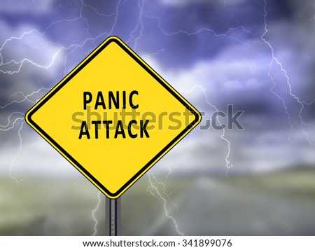 Illustration depicting warning sign with a panic attack concept. Blurred stormy sky background. - stock photo