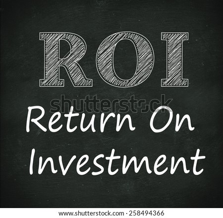 Illustration design of concept of roi - return on investment on black chalkboard - stock photo