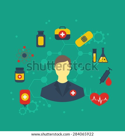 Illustration doctor with medical icons for web design, modern flat style - raster