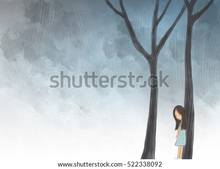 Miserable stock images royalty free images vectors - Cartoon girl sitting alone ...