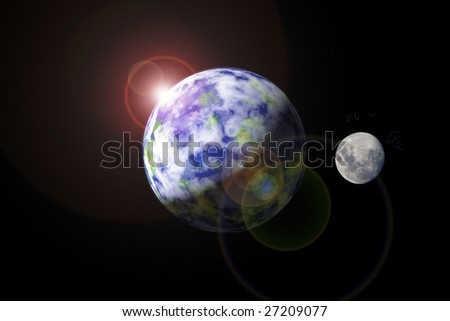 Illustration: Earth and moon as seen from outer space