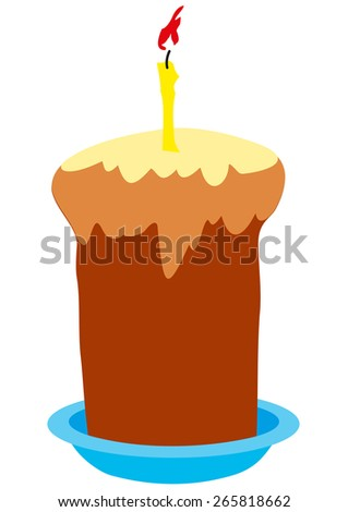 Illustration Easter cake with burning candles in a plate on a white background - stock photo