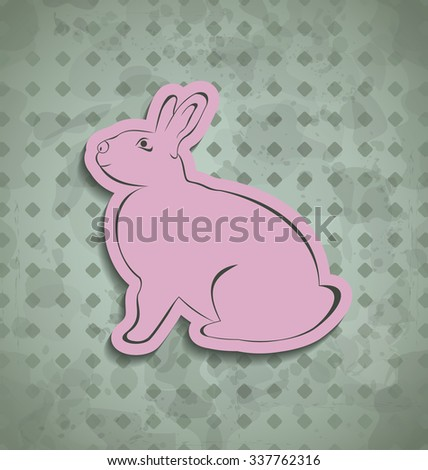 Illustration Easter happy vintage poster with pink bunny - raster - stock photo