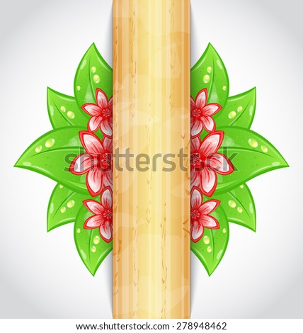 Illustration eco friendly background with green leaves, flower, wooden texture - raster - stock photo