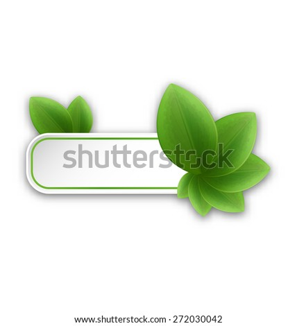 Illustration eco friendly banner with green leaves - raster - stock photo