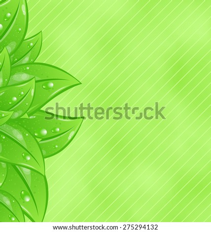 Illustration ecology background with eco green leaves - raster - stock photo