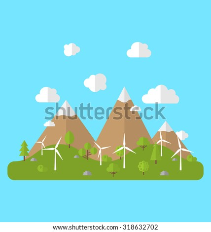 Illustration Environment with Wind Generators, Green Valley, Trees, Mountain, Blue Sky. Concept of Alternative Energy Sources - raster - stock photo