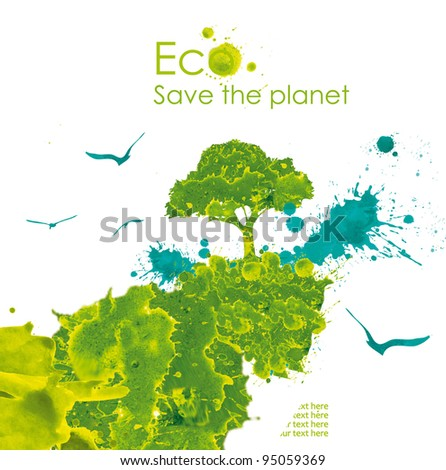 Illustration environmentally friendly planet. Abstract tree, water and leaf hand drawn watercolor isolated on a white background Think Green. Ecology Concept.