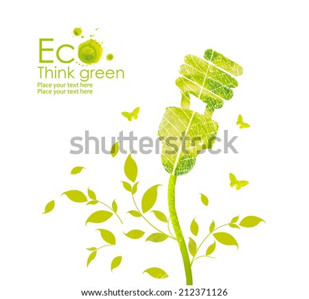 Illustration environmentally friendly planet.Energy saving eco lamp,from watercolor  stains,isolated on a white background. Think Green. Ecology Concept - stock photo