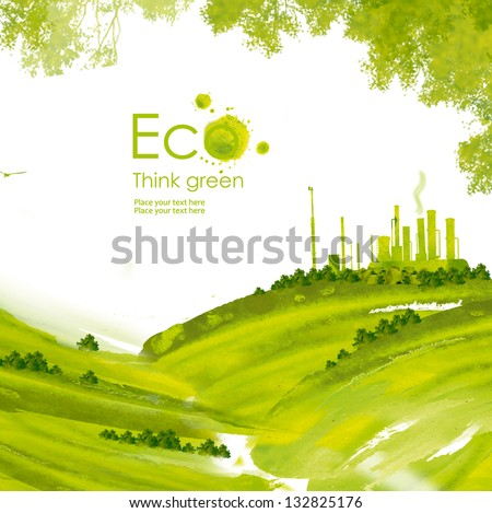 Illustration environmentally friendly planet.Green factory on the hill and trees, hand drawn from watercolor stains, isolated on a white background. Think Green. Eco Concept. - stock photo