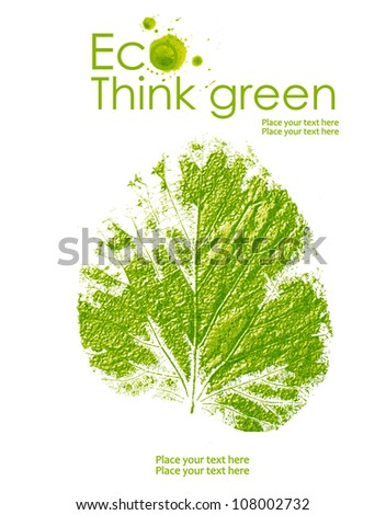 Illustration environmentally friendly planet. Green leaf from watercolor stains,isolated on a white background. Think Green. Ecology Concept. - stock photo