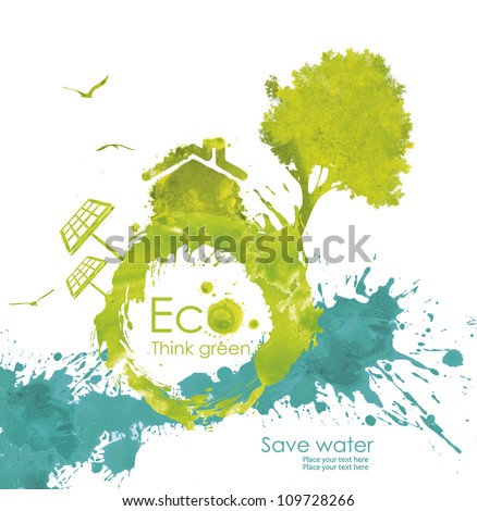Illustration environmentally friendly planet. Green tree and house from watercolor stains,isolated on a white background. Think Green. Ecology Concept. - stock photo