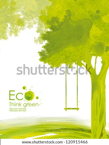 Illustration environmentally friendly planet. Green tree with a swing from watercolor stains,isolated on a white background. Think Green. Ecology Concept. - stock photo