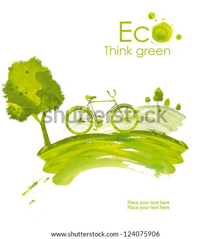 Illustration environmentally friendly planet. Landscape with hills, green trees and ecology bike driving, hand drawn from watercolor stains, isolated on a white background. Think Green. Eco Concept.