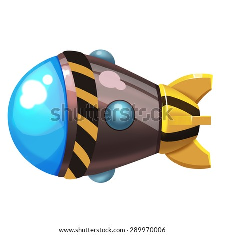 Illustration: Fantastic World Topic - The Missile - Element Creation - Realistic Cartoon Style - stock photo