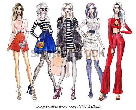 illustration fashionable girls. shopping. fashion illustration. fashion banner. collage. art sketch of beautiful young woman in dress.Street fashion. woman cocktail dresses illustration - stock photo