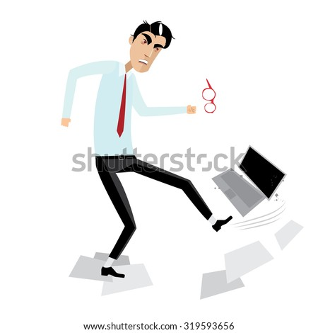 Illustration featuring angry businessman breaking computer - stock photo