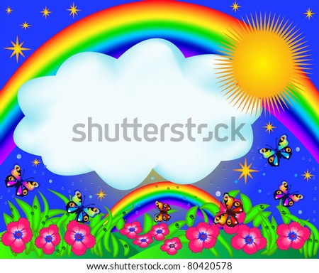 illustration field with color butterfly and rainbow - stock photo