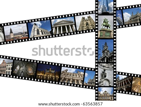 Illustration - film strips with travel memories. Brussels, Belgium. All photos taken by me, available also separately. - stock photo