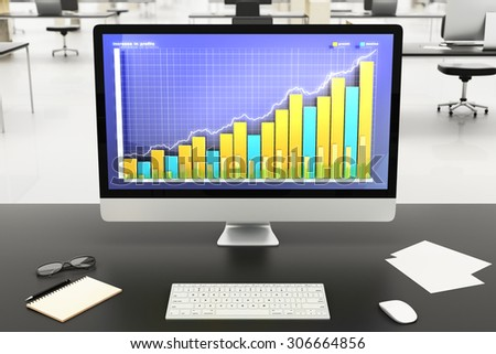 illustration Financial graph on computer monitor
