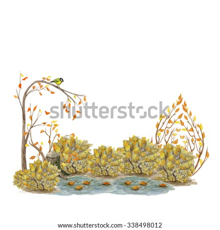 Illustration for children cute fairytale landscape. Landscape of a forest with trees . Nature watercolor illustration - stock photo