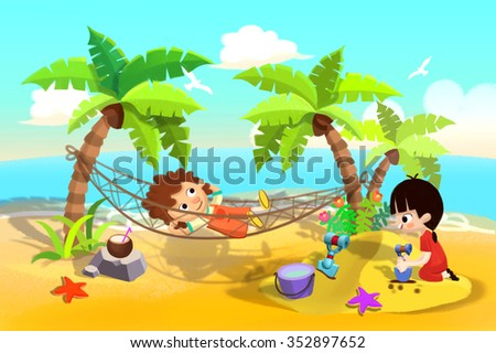 Illustration For Children: Kids Play at Sand Beach, One Sleeping in the Hammock, One Playing in Sands. Realistic Fantastic Cartoon Style Artwork / Story / Scene / Wallpaper / Background / Card Design - stock photo