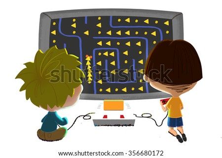 Illustration for Children: Two Little Friends are Playing Game Together, isolated on white background. Realistic Fantastic Cartoon Style Artwork Scene, Wallpaper, Story Background, Card Design  - stock photo